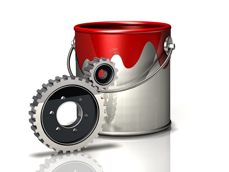 paint bucket and gears