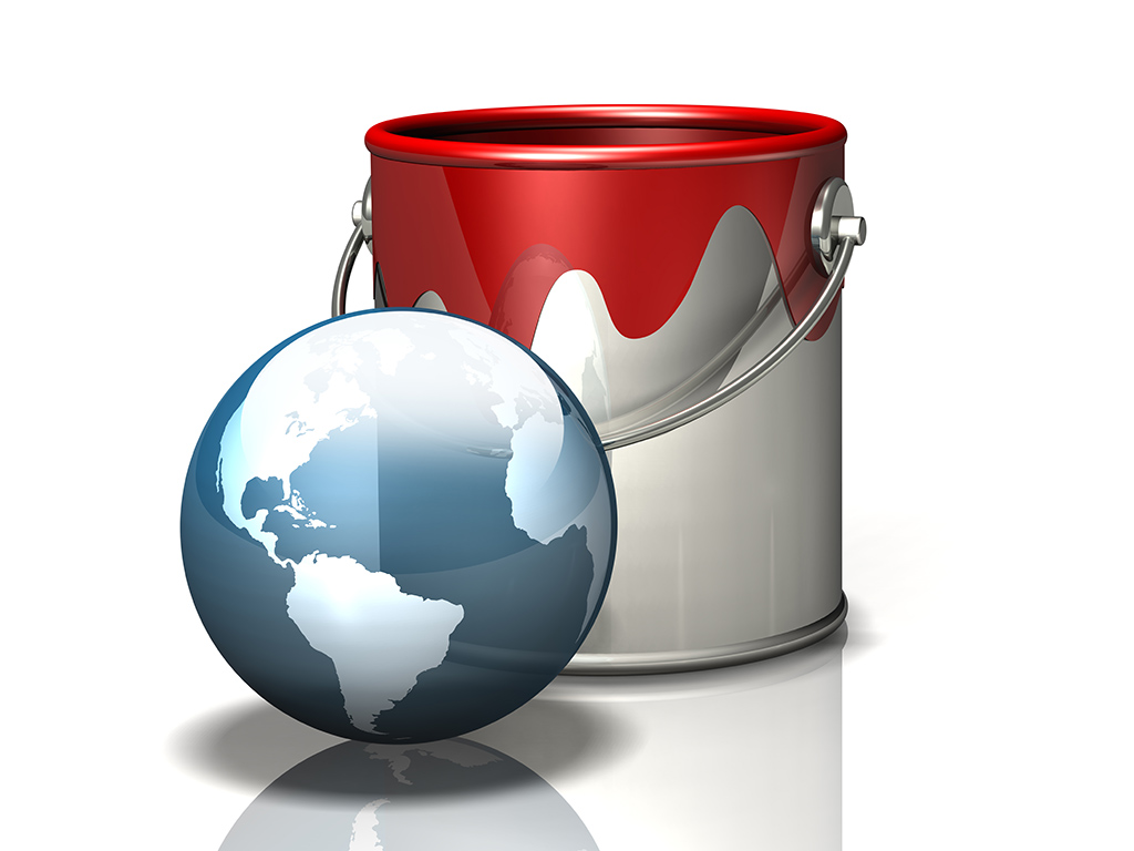 paint bucket and transparent globe