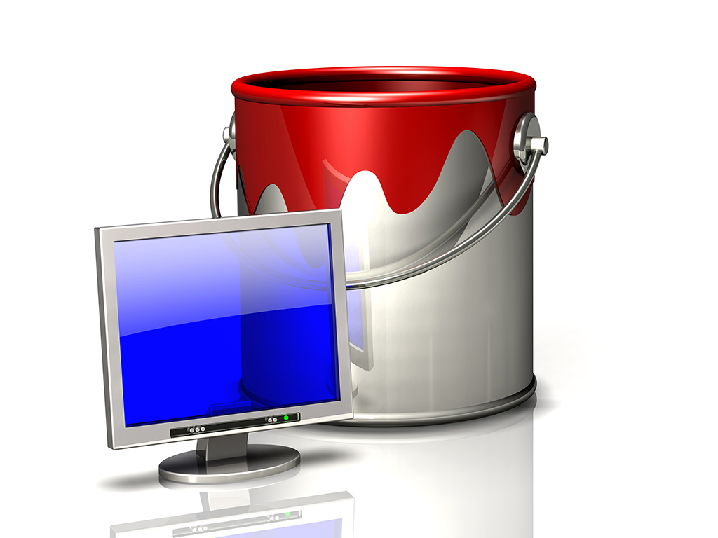 paint bucket and computer display screen