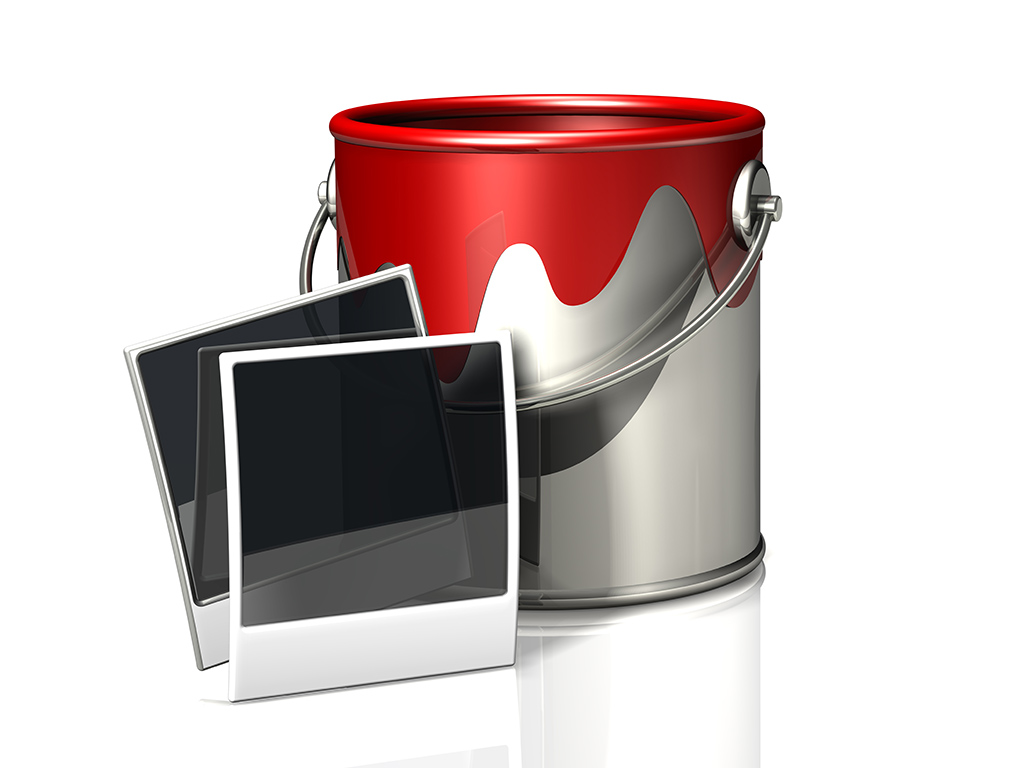 paint bucket and instant photos