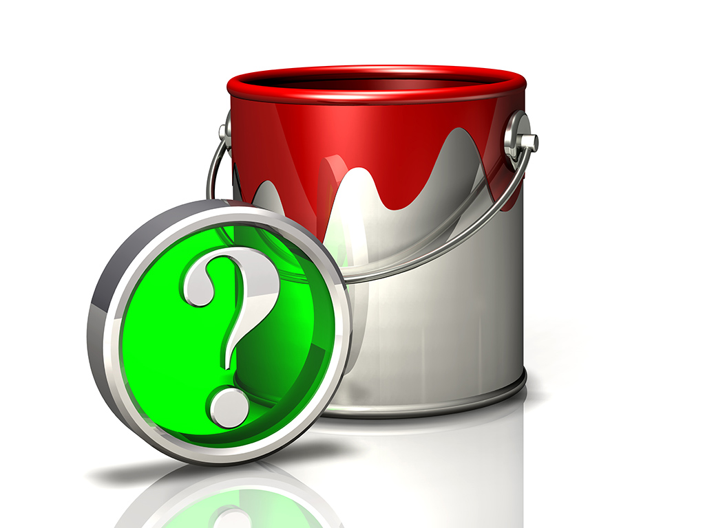 paint bucket and question mark symbol