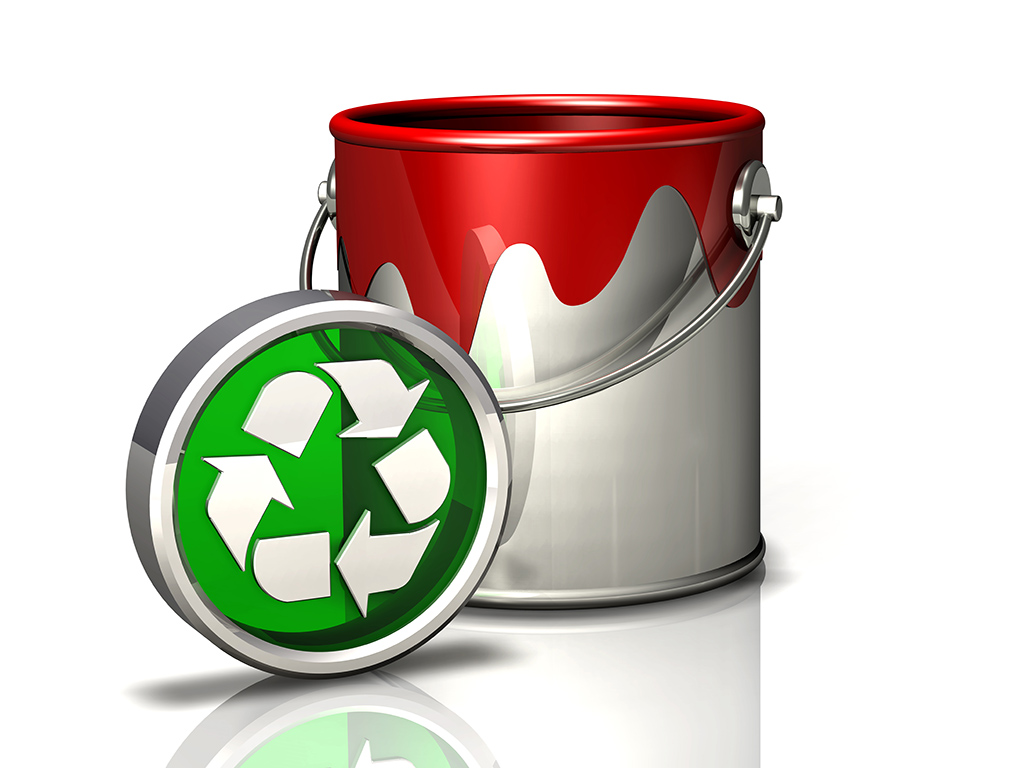paint bucket and recycle symbol