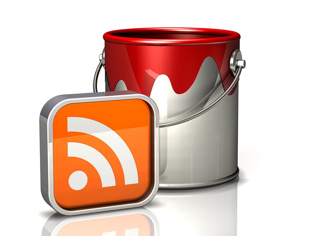 paint bucket and rss symbol