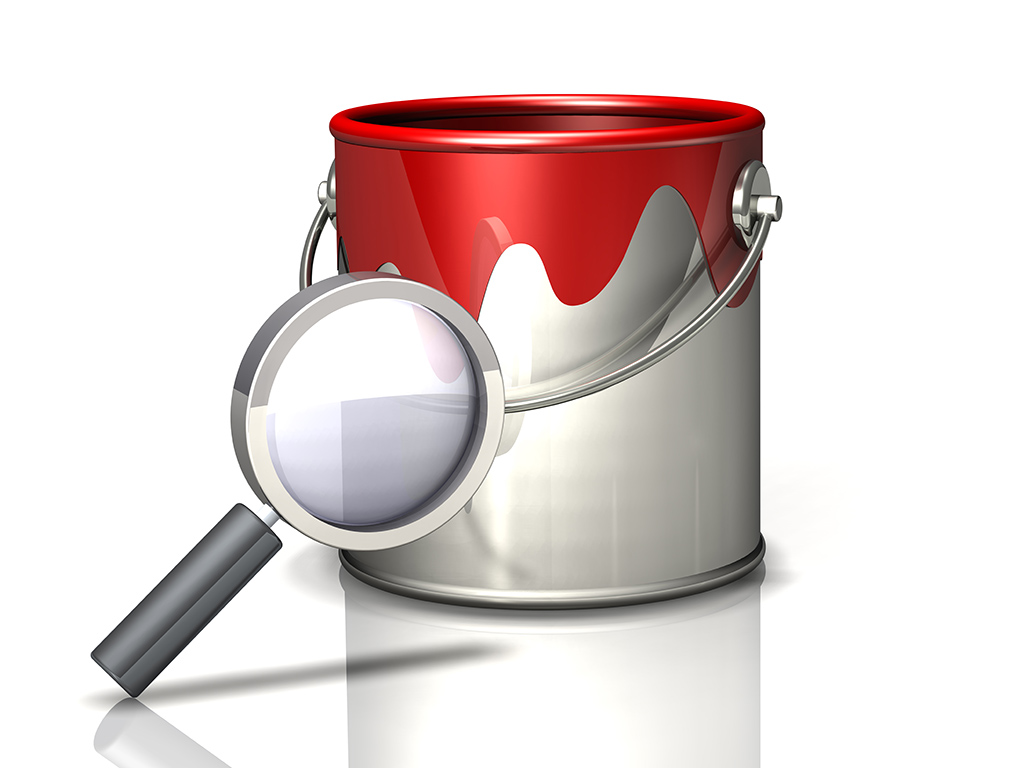 paint bucket and magnifying glass