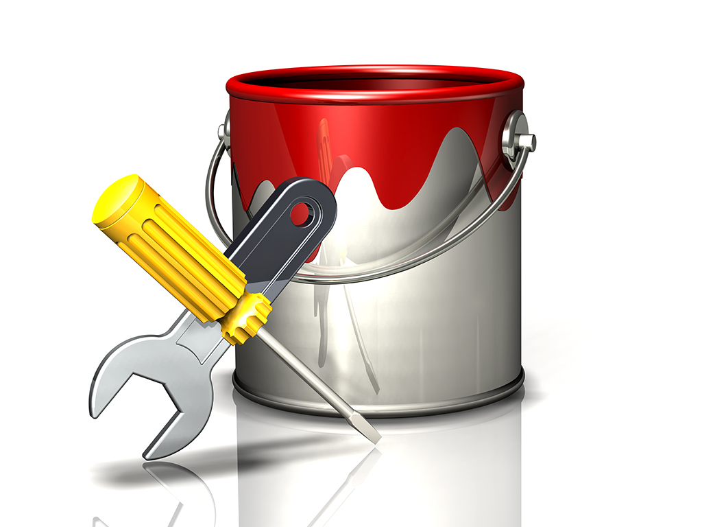 paint bucket with wrench and screwdriver
