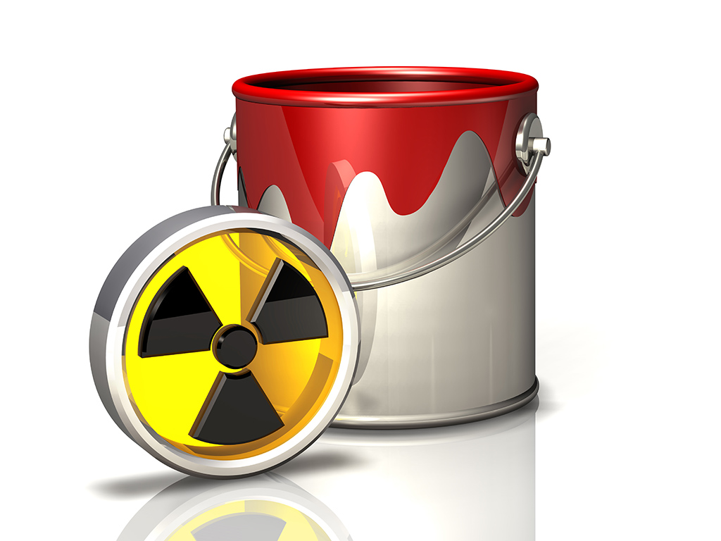 paint bucket and radiation symbol