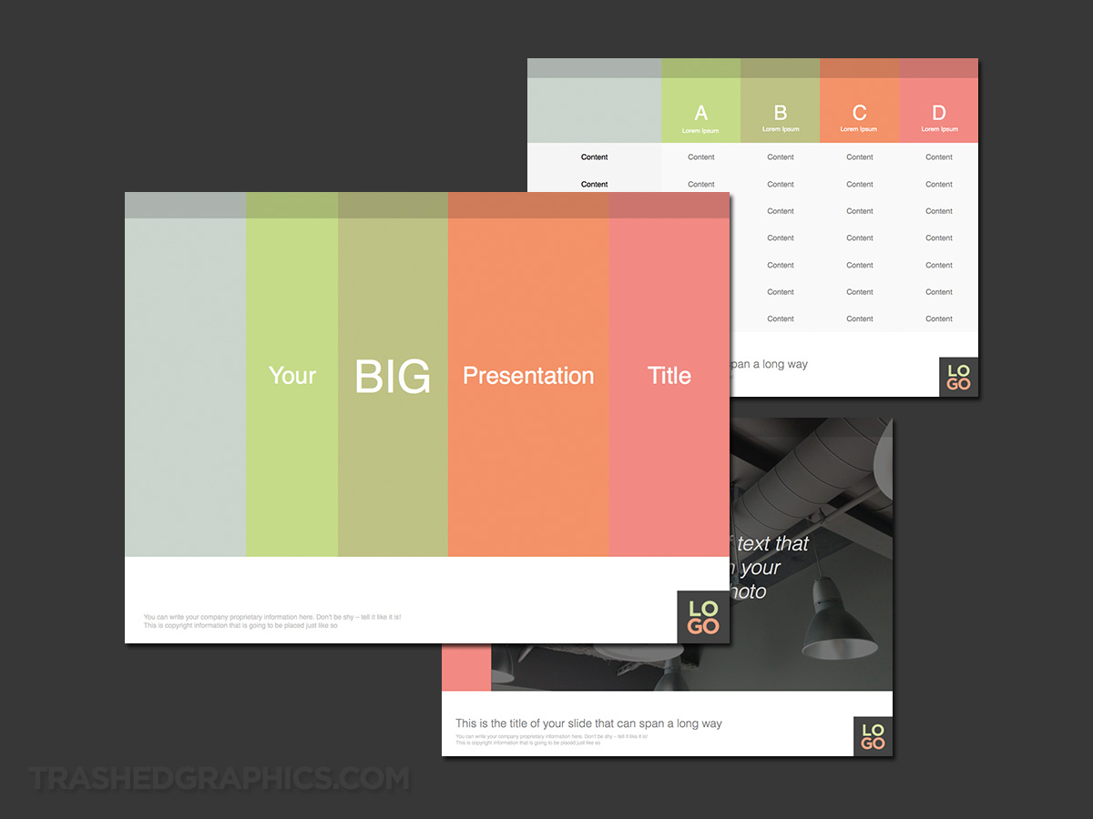 flat design powerpoint template built with table grids, Powerpoint templates
