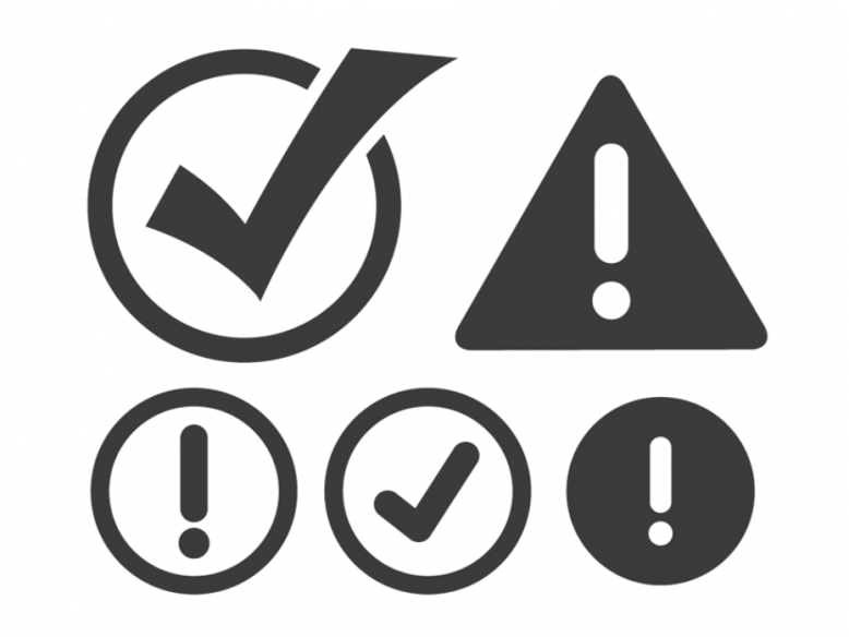 simple checkmark and attention icons in vector format