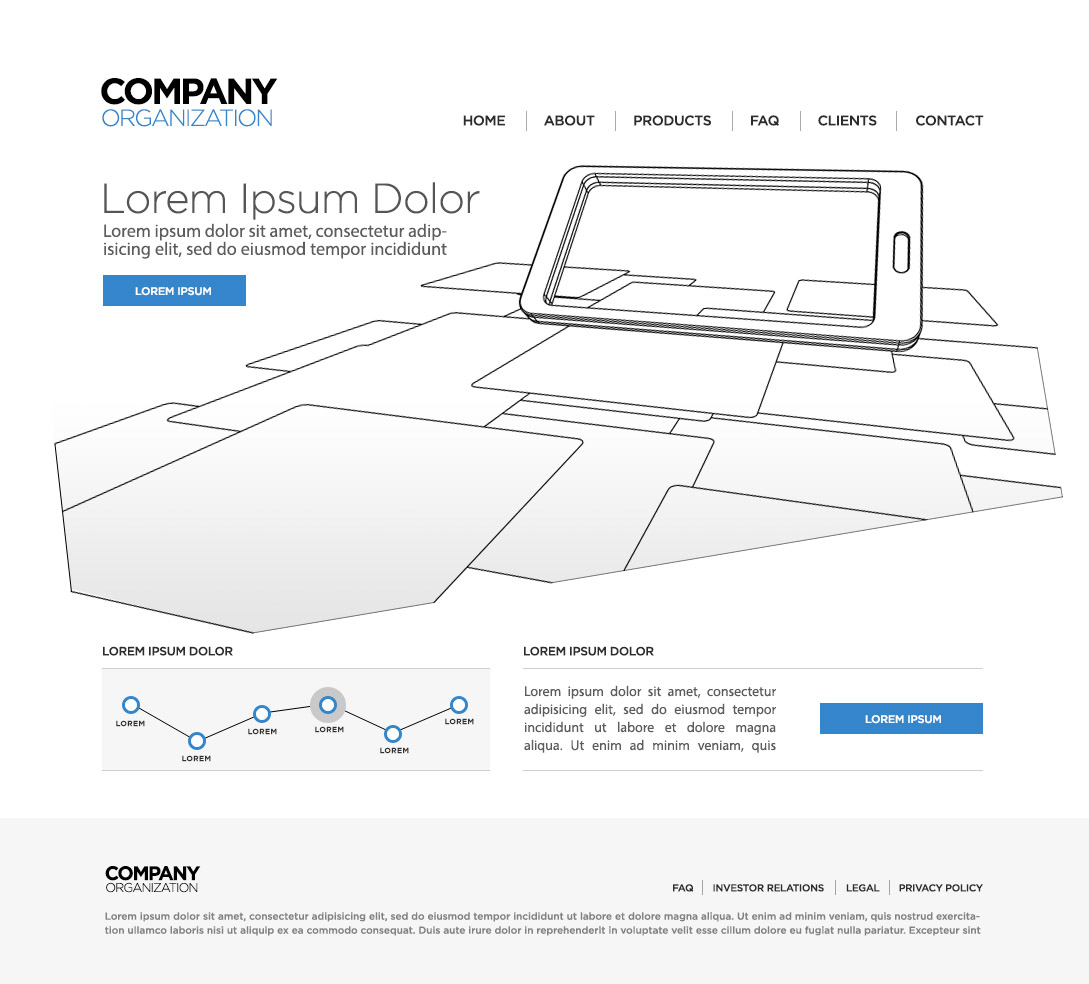 version 3 wireless technology homepage wireframe