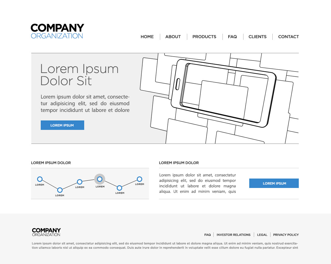 mobile phone home page wireframe template