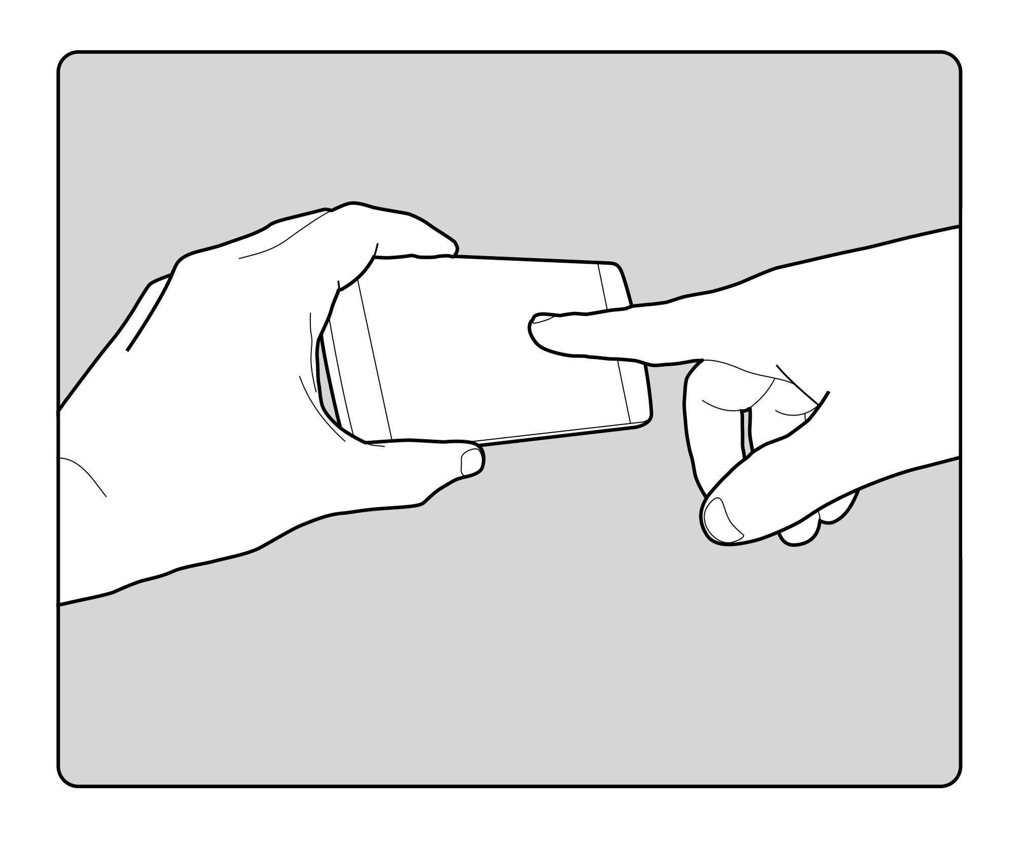hands and phone storyboard illustration
