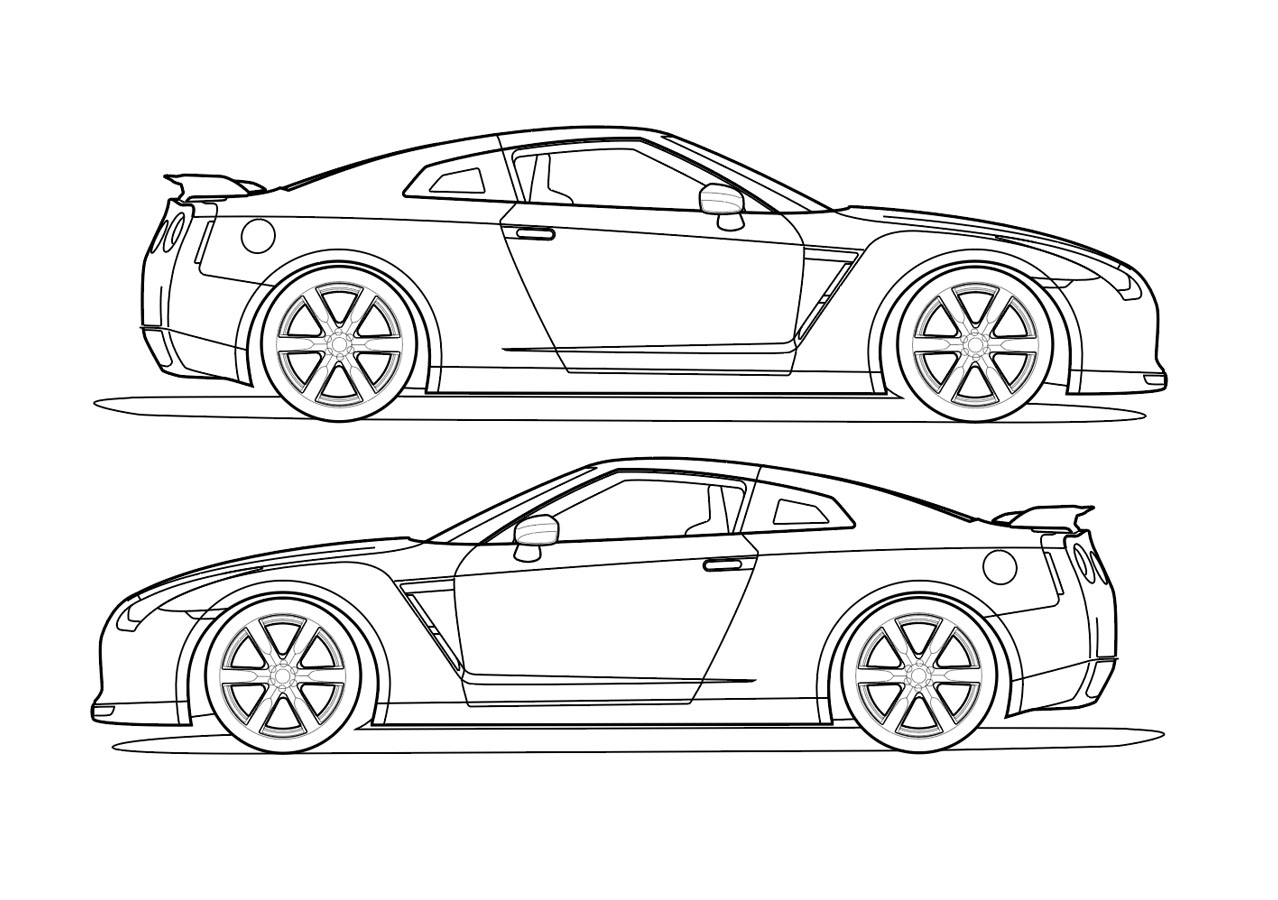 Side View Vector Line Drawing Of A Nissan Gt R Trashedgraphics