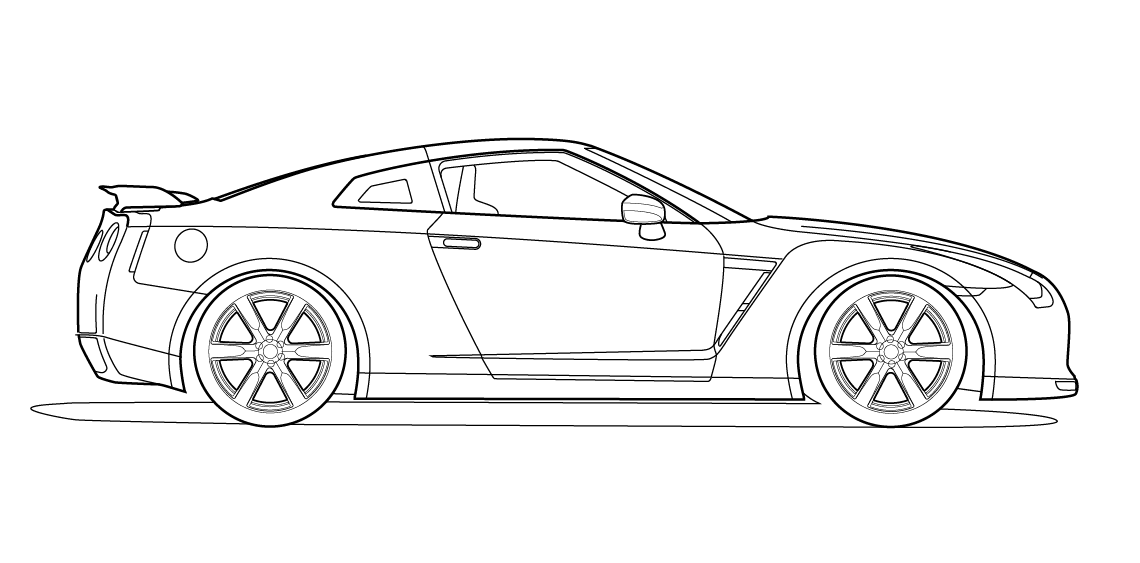 Side View Vector Line Drawing Of A Nissan Gt R