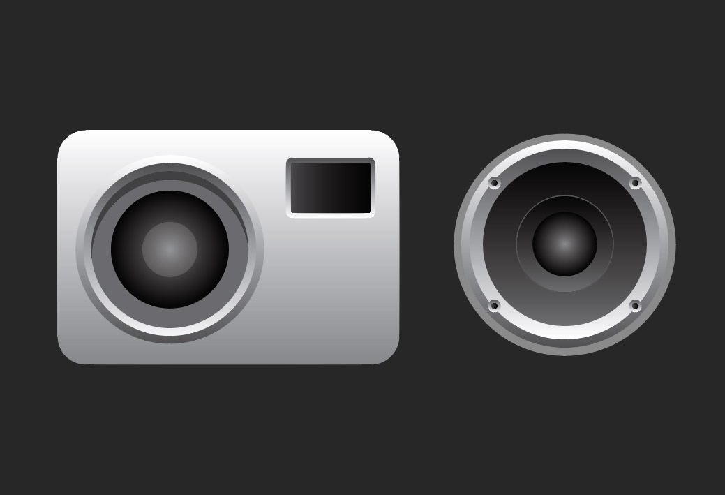 vector camera and speaker icons