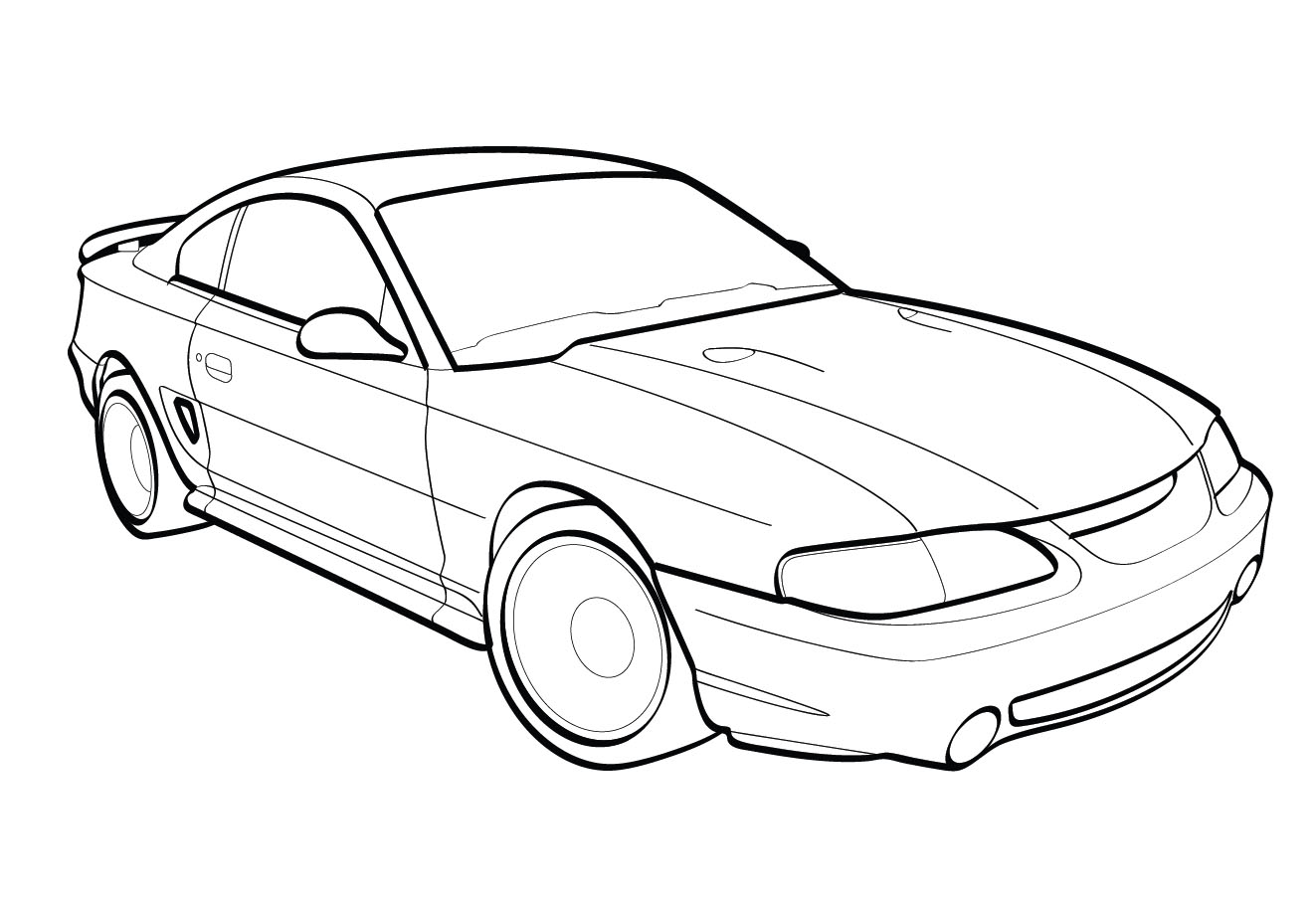 1999 ford cobra mustang vector line drawing