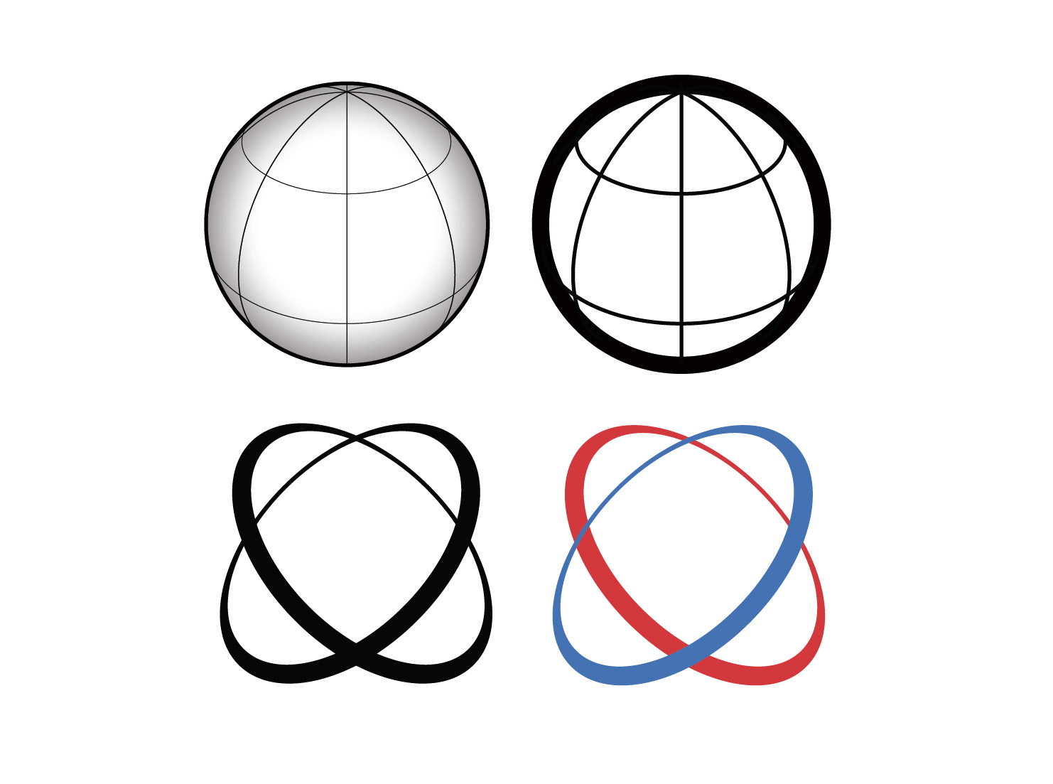 Vector globe icons with axis lines