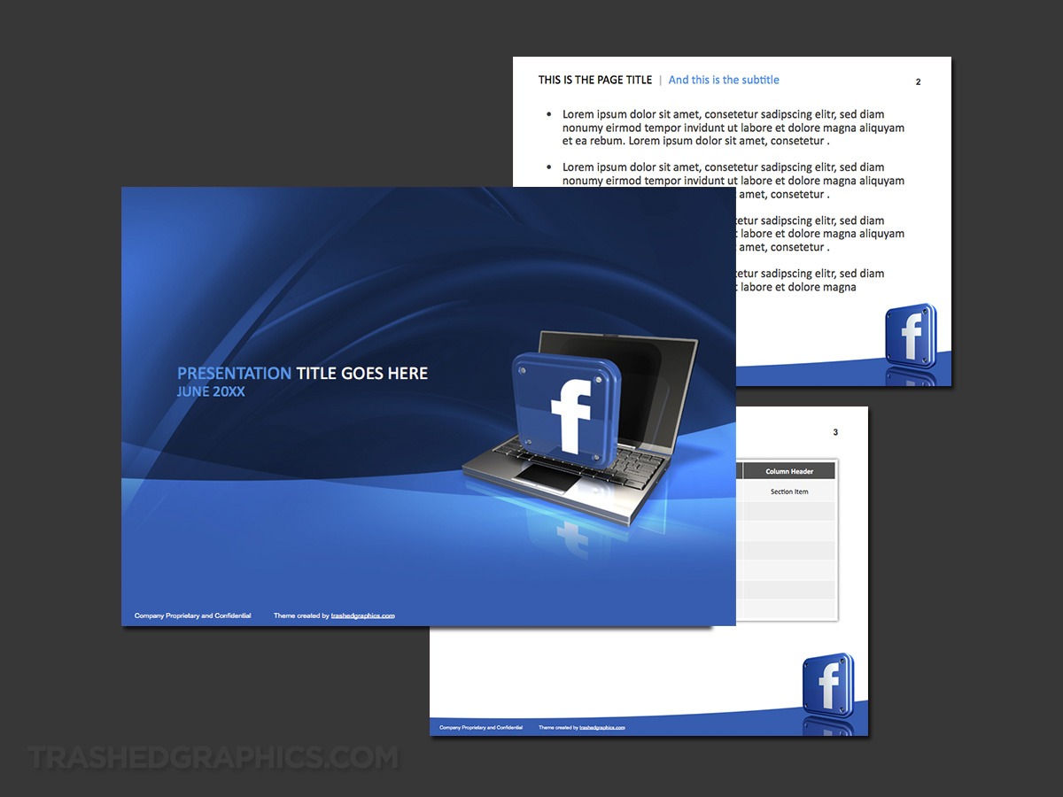 blue and white Facebook template powerpoint