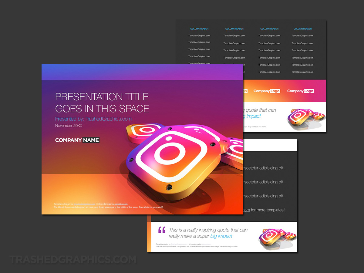 3d instagram app icons powerpoint theme