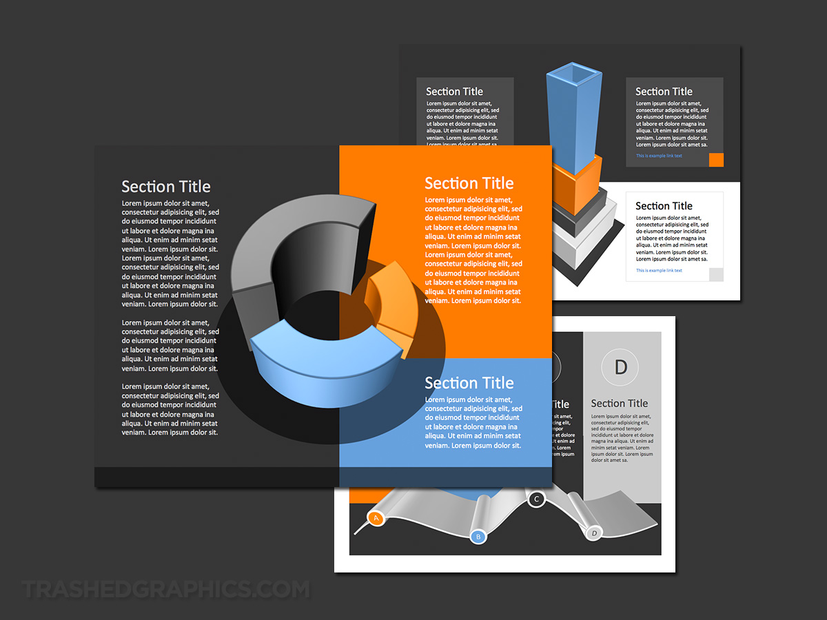 blue and orange editable 3d charts powerpoint