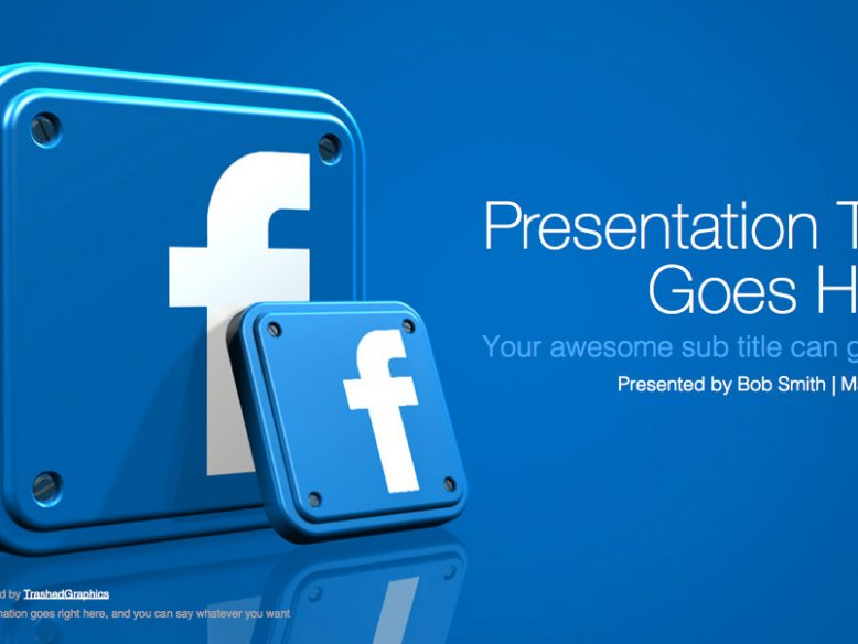 widescreen powerpoint template with 3d facebook app icons