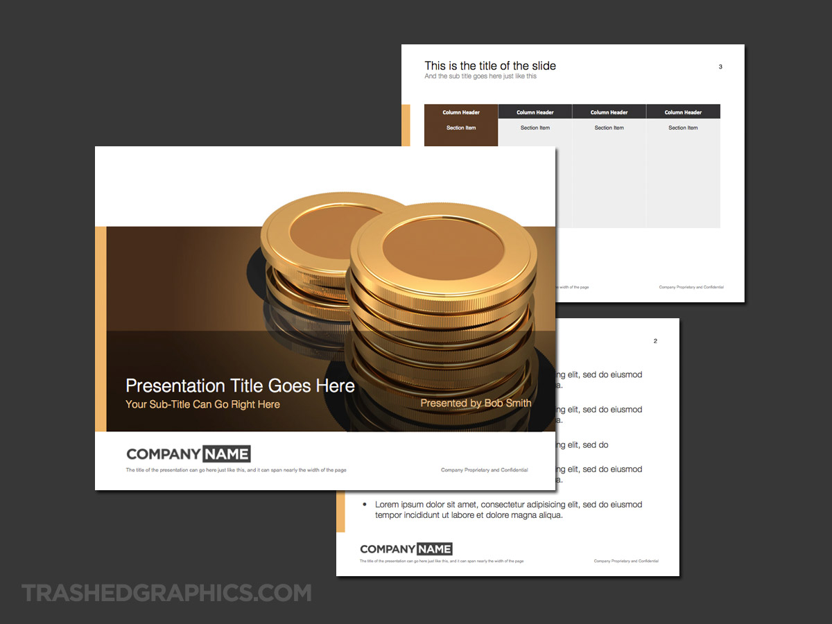 gold coins financial theme for powerpoint