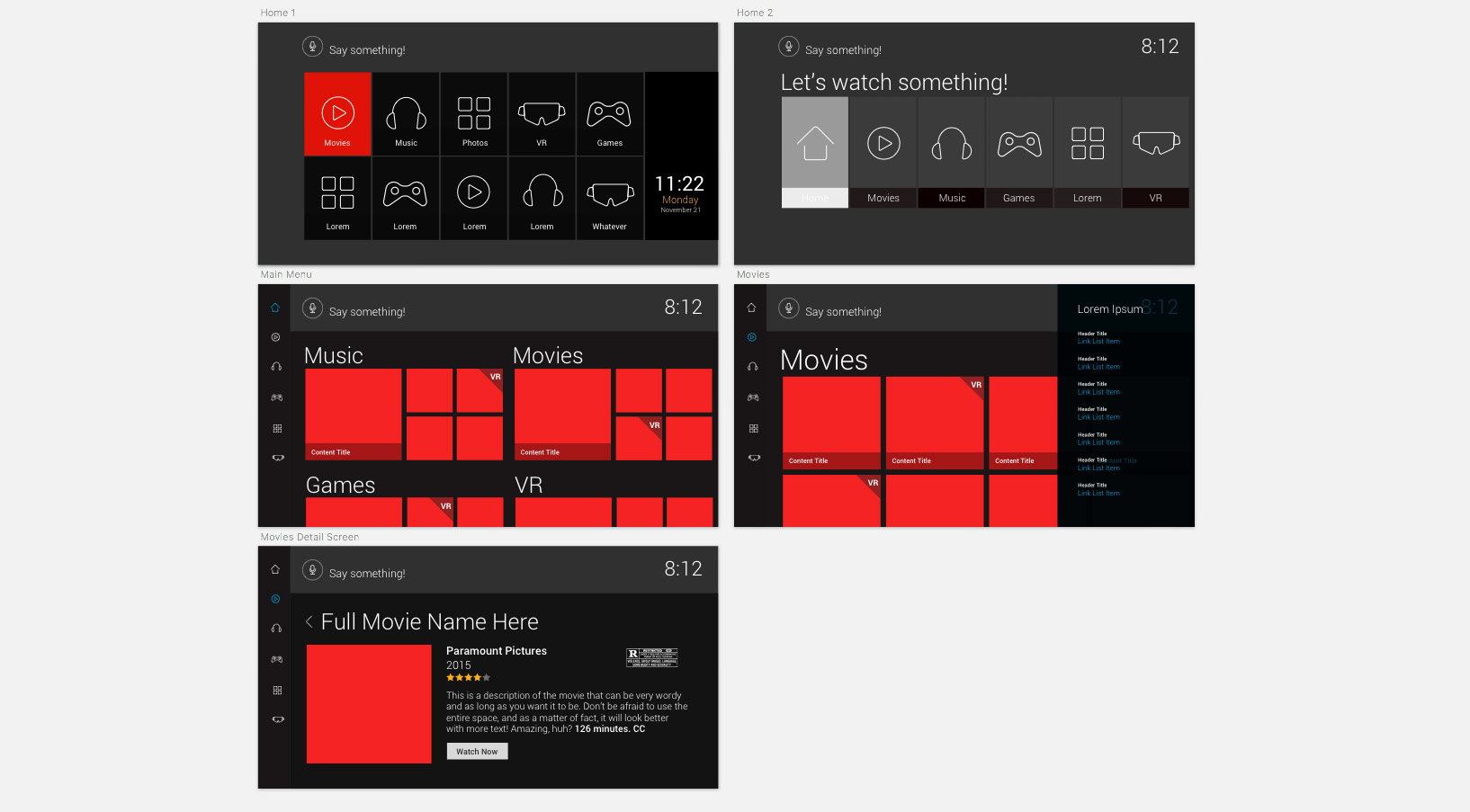 Widescreen TV user interface wireframes