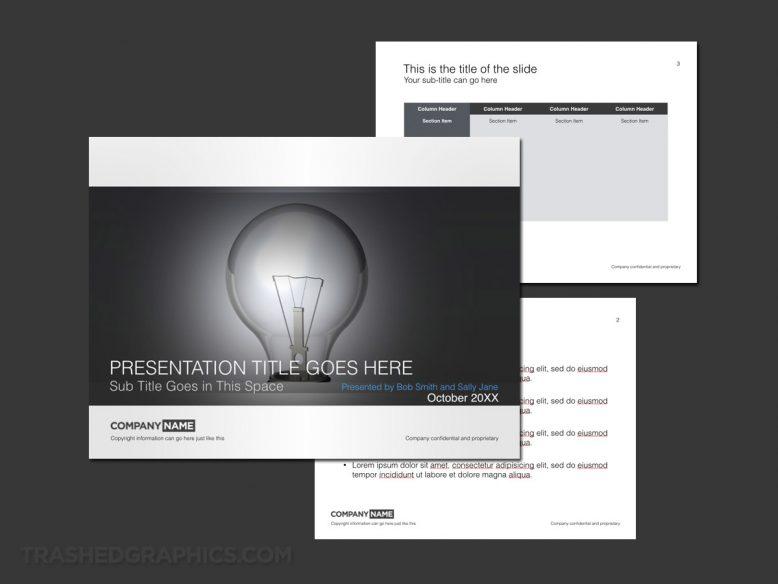 Keynote presentation template with light bulb