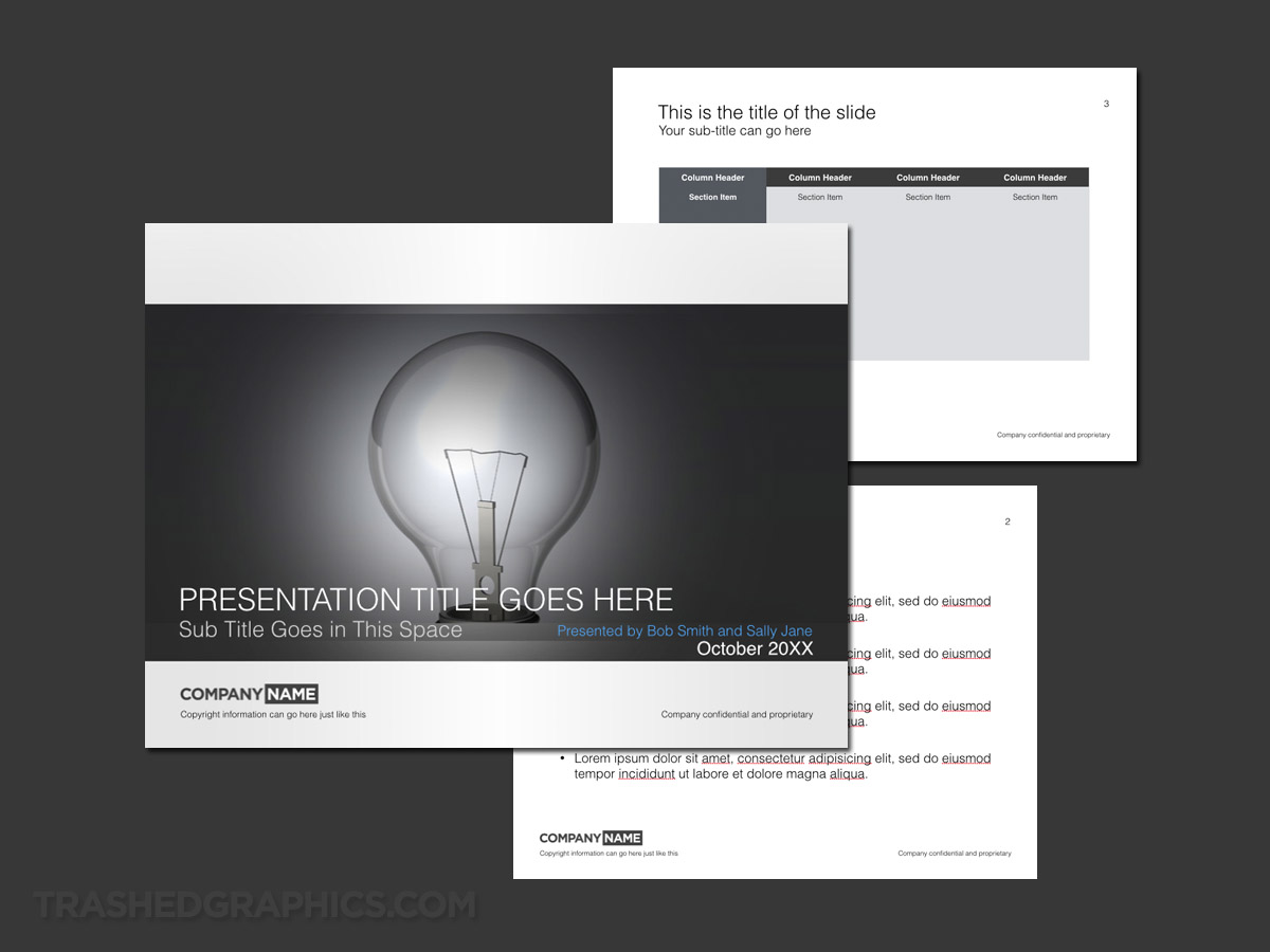 Keynote presentation template with light bulb