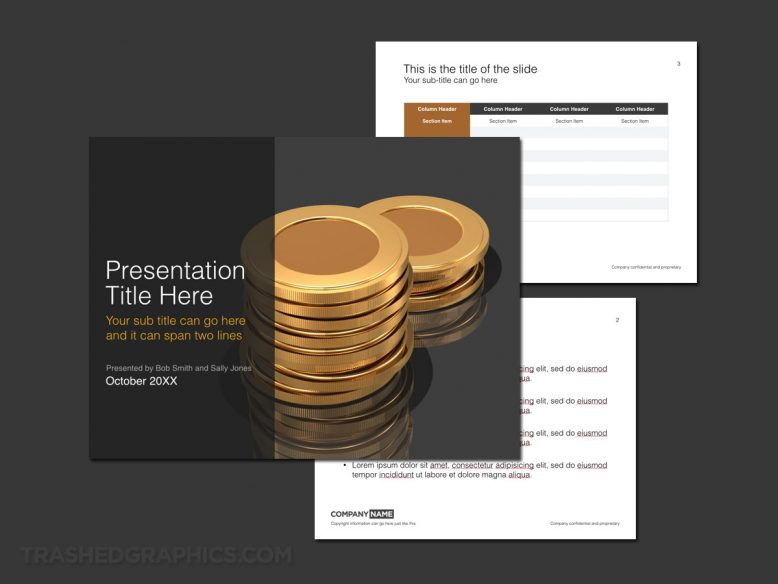 gold coins and financial theme for keynote