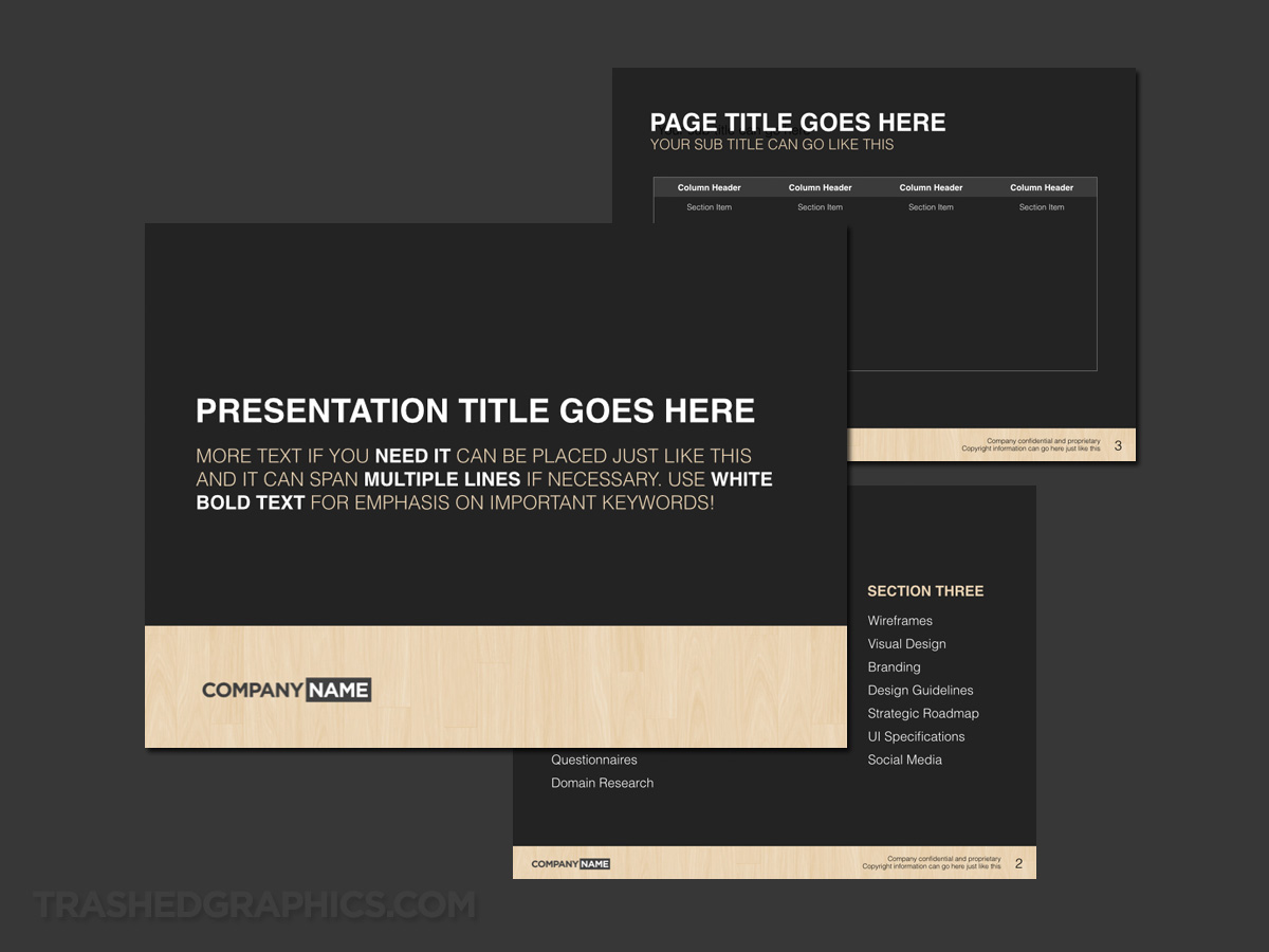 Typography and woodgrain template keynote