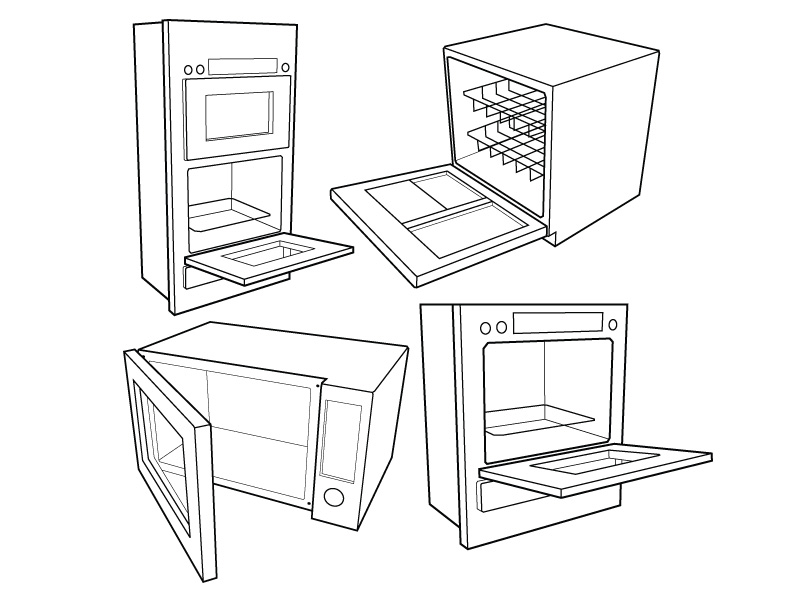 kitchen appliance vector drawings