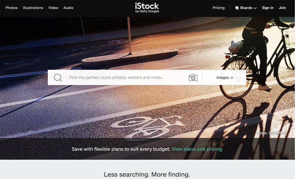 iStock homepage screenshot