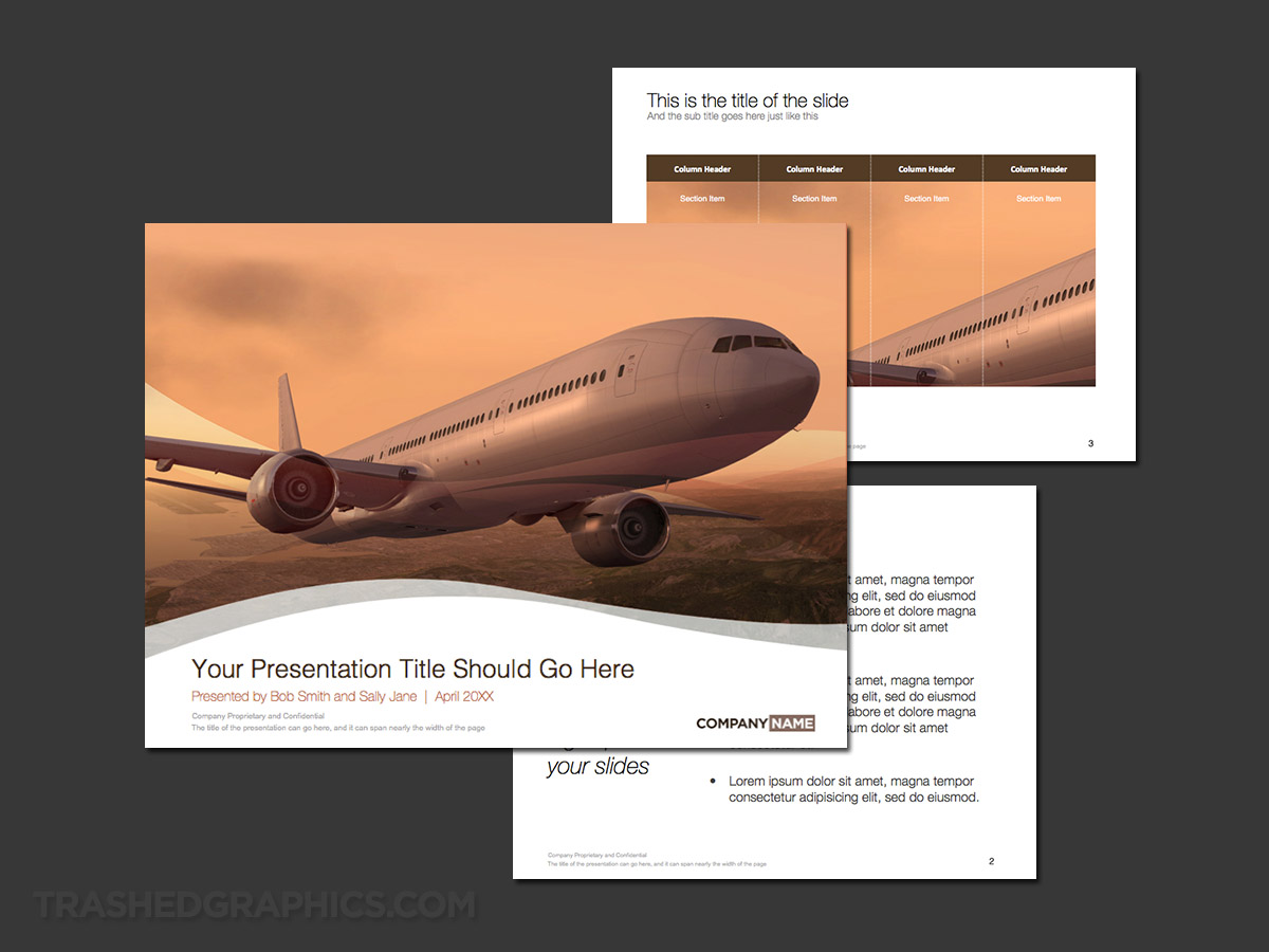 presentation template for the aerospace industry