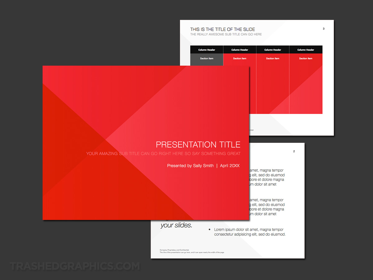 angular red / flat style powerpoint template
