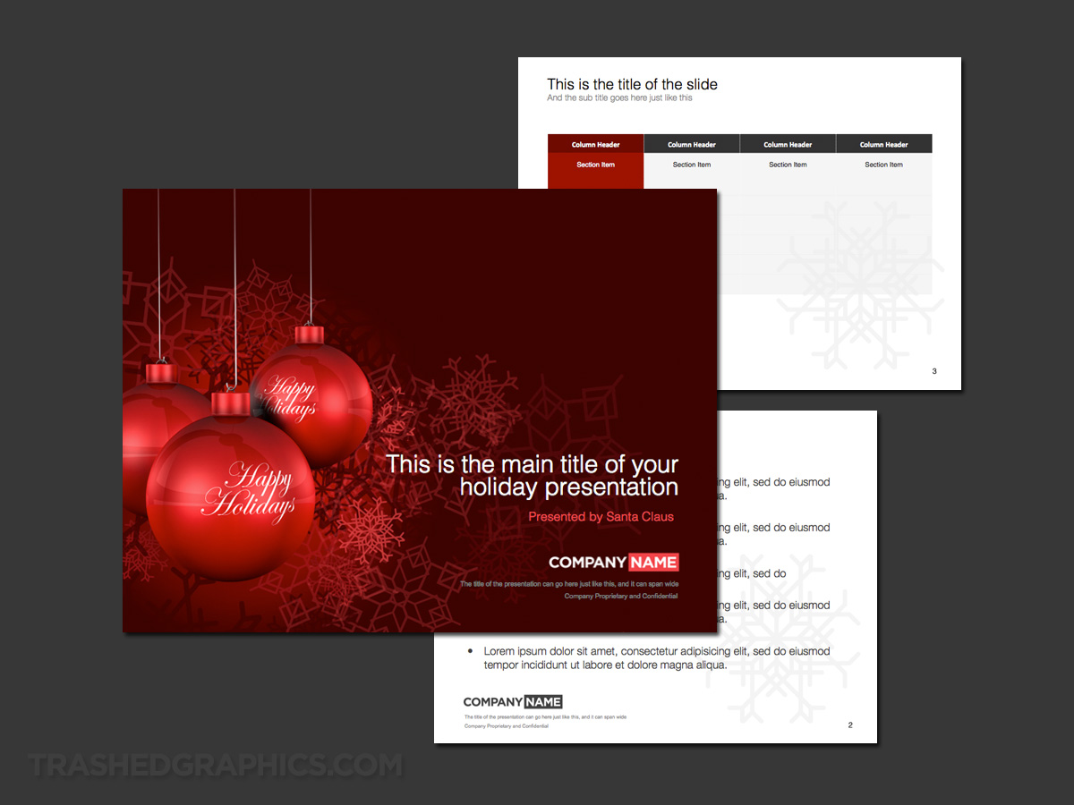 Red Christmas and holiday theme for PowerPoint