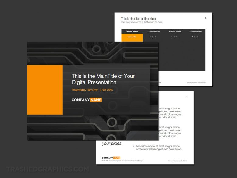 3 page powerpoint theme for corporate engineering