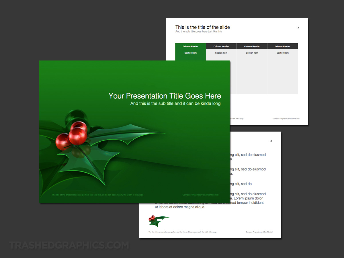 3-page Holly leaves PowerPoint theme