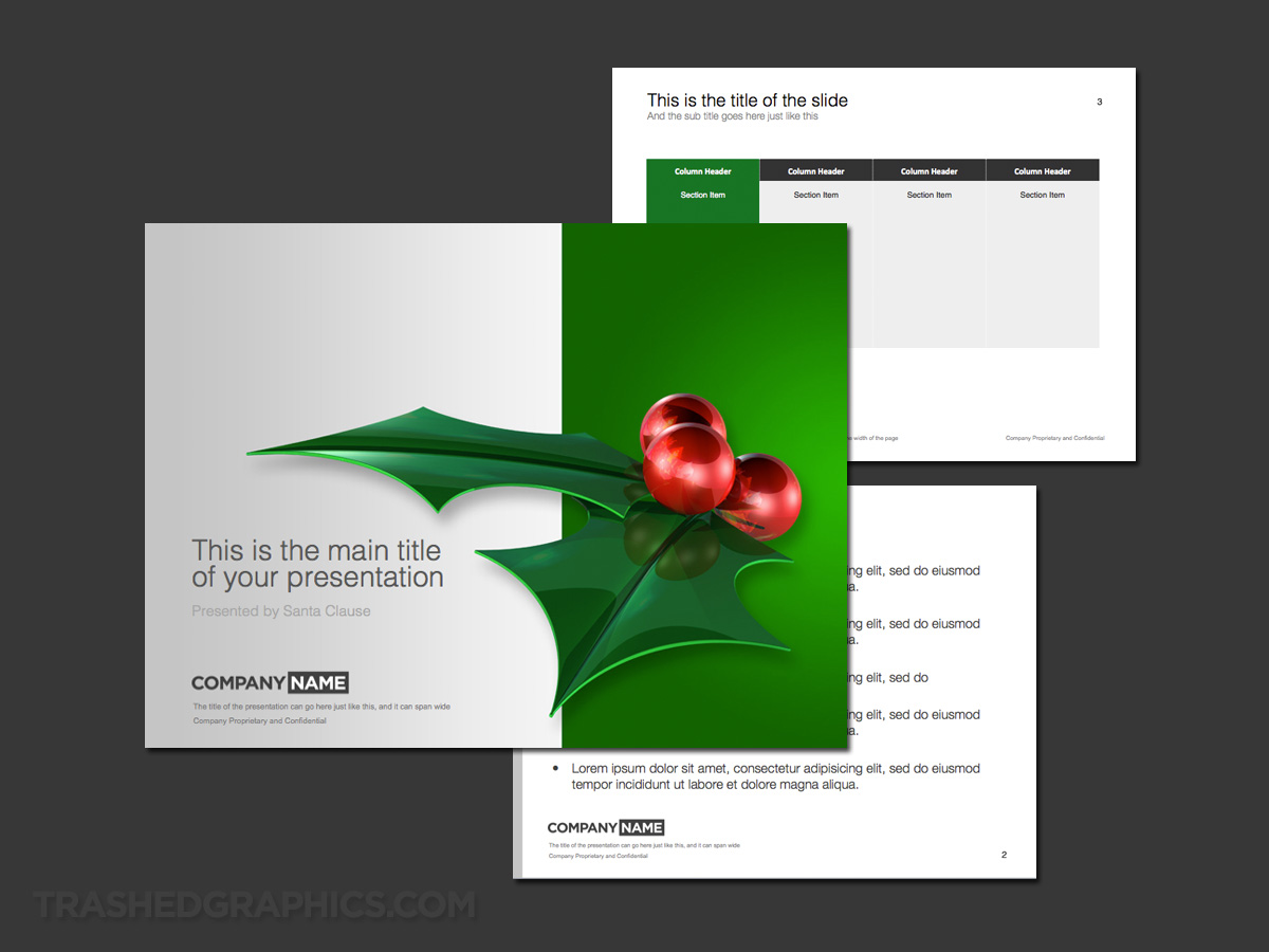 silver and green Holly leaves powerpoint template