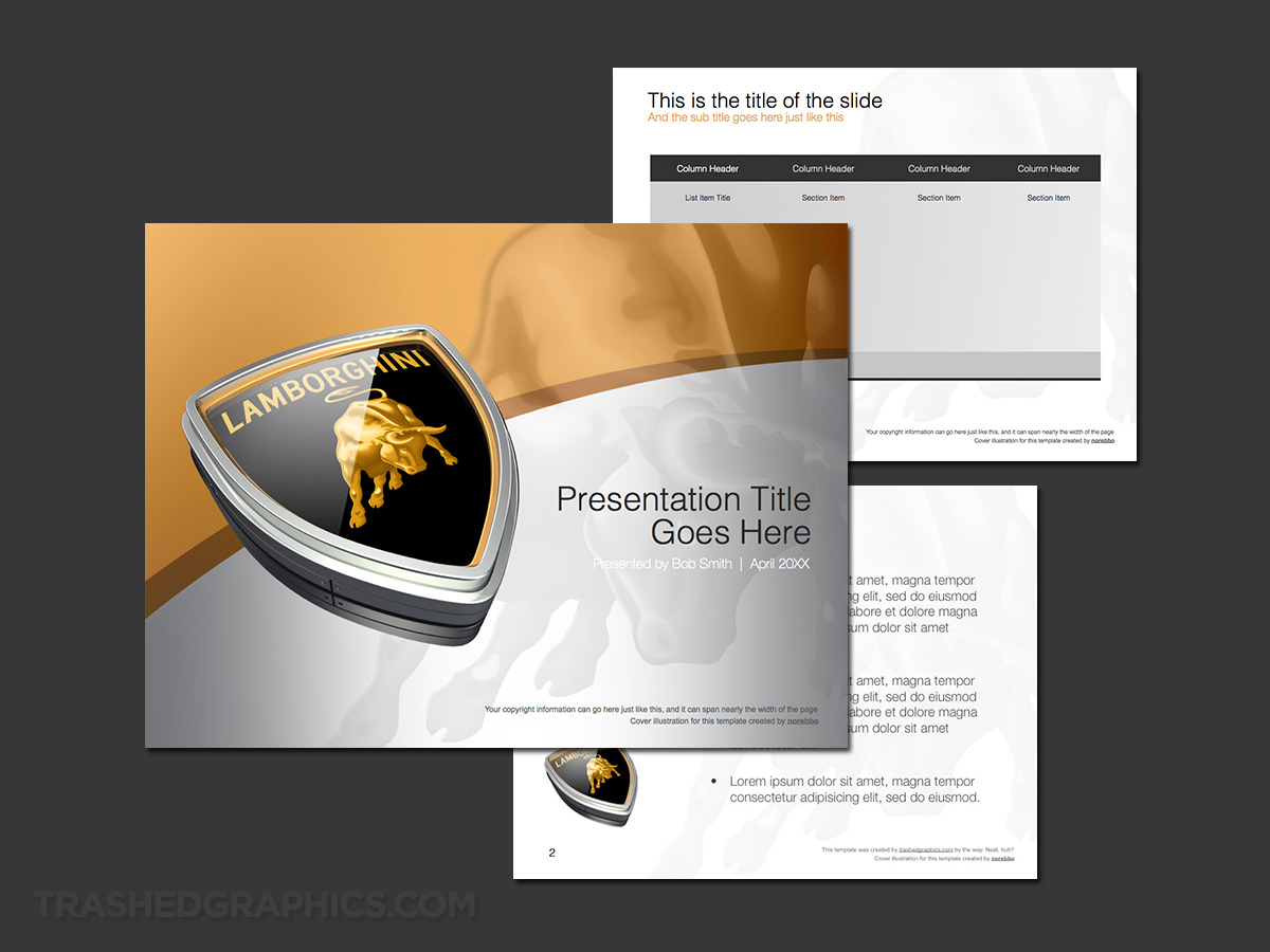 Silver and gold Lamborghini PowerPoint template