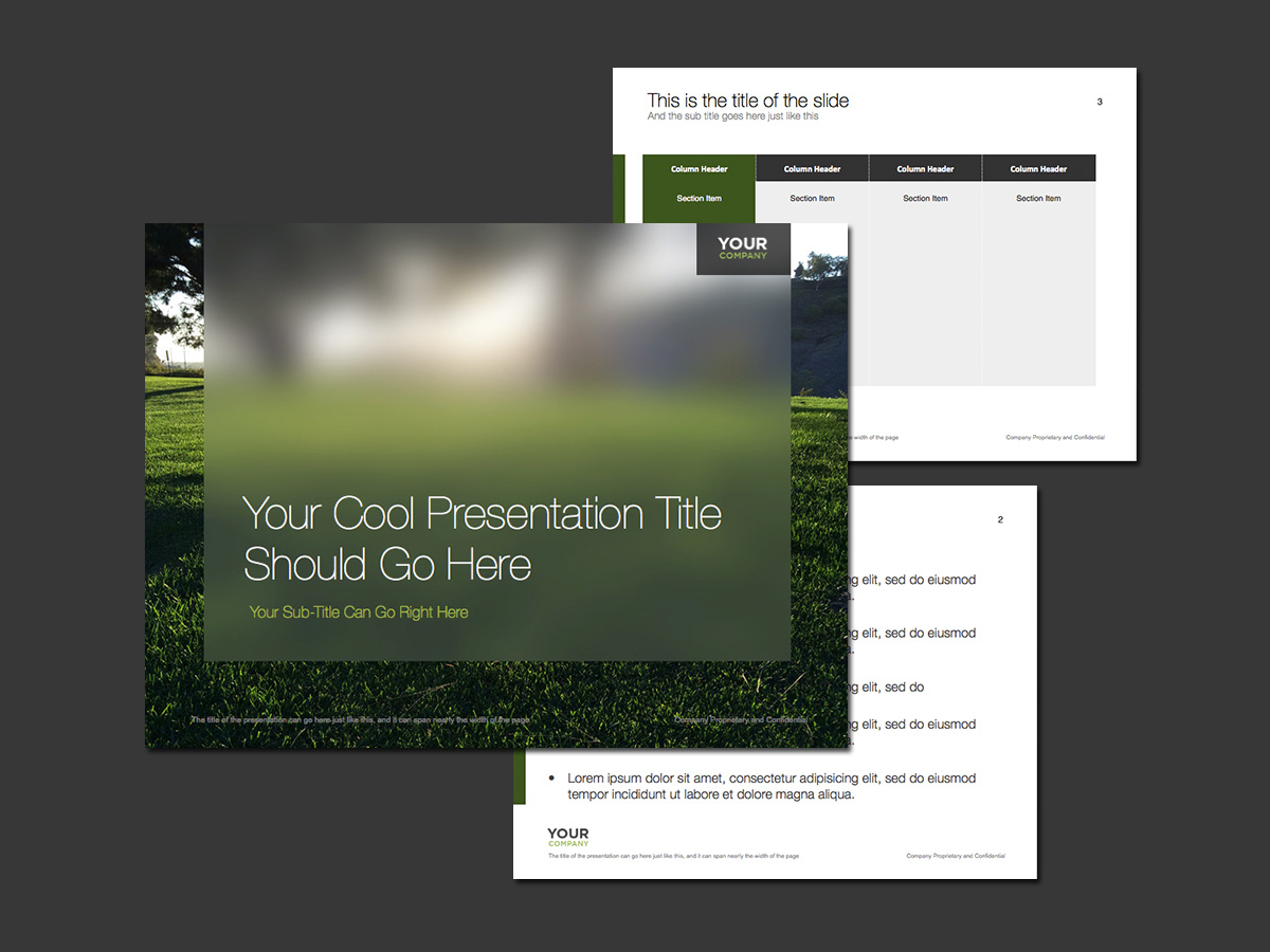 Grassy morning sunrise PowerPoint template