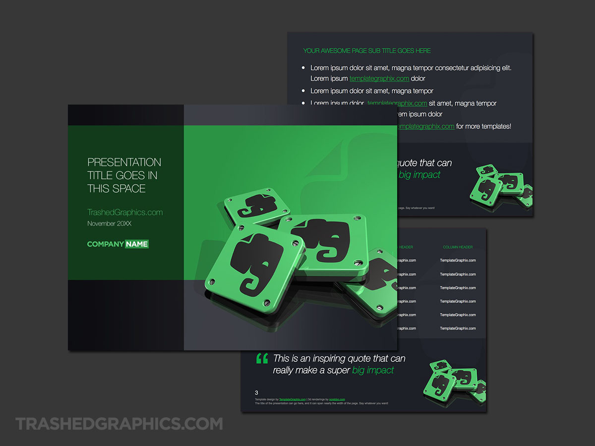 Evernote PowerPoint template dark version