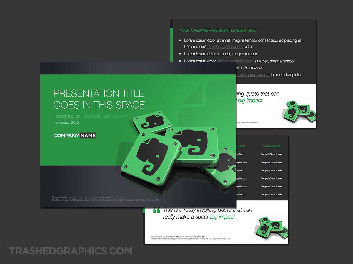Evernote PowerPoint template light version