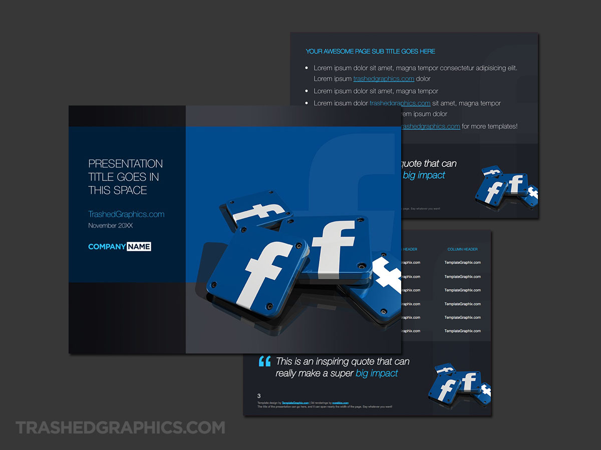 Facebook PowerPoint dark theme