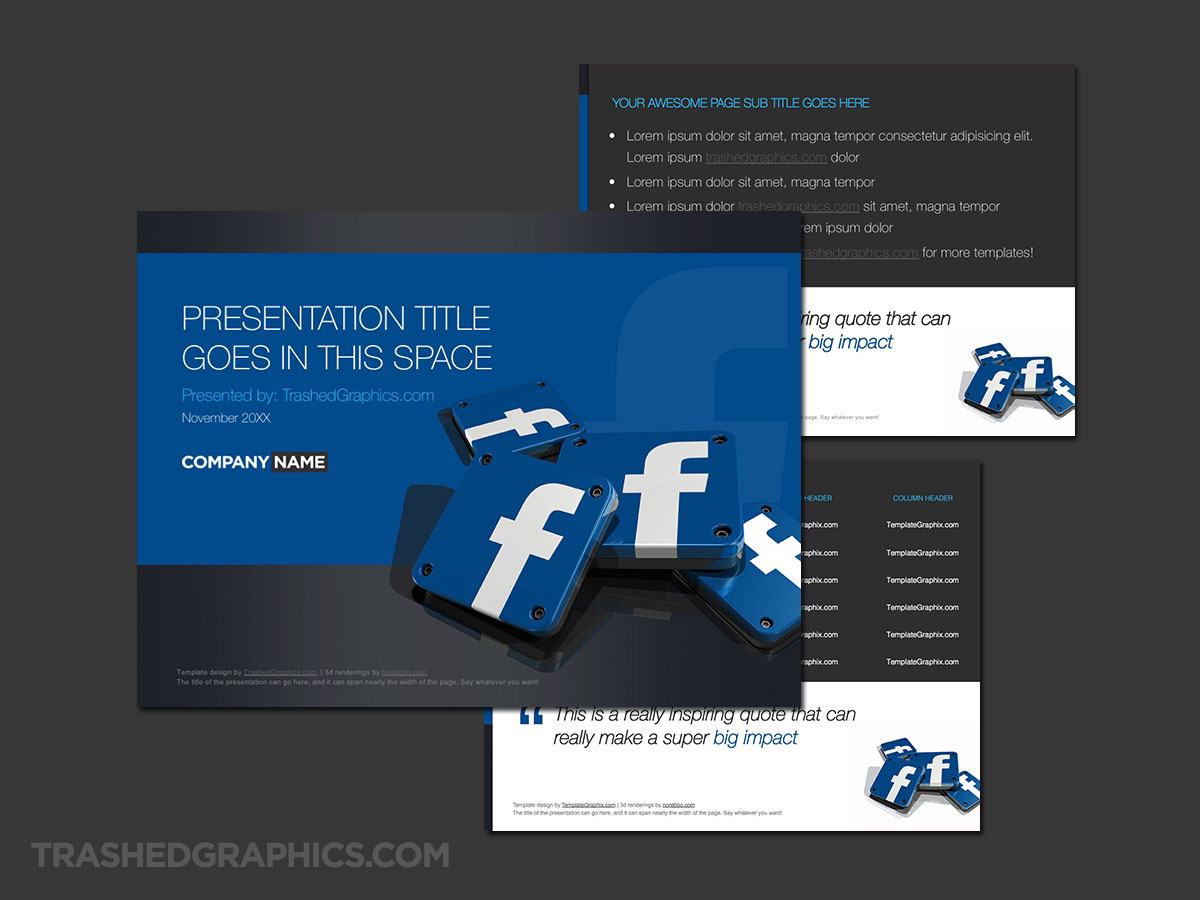 Facebook PowerPoint template light version