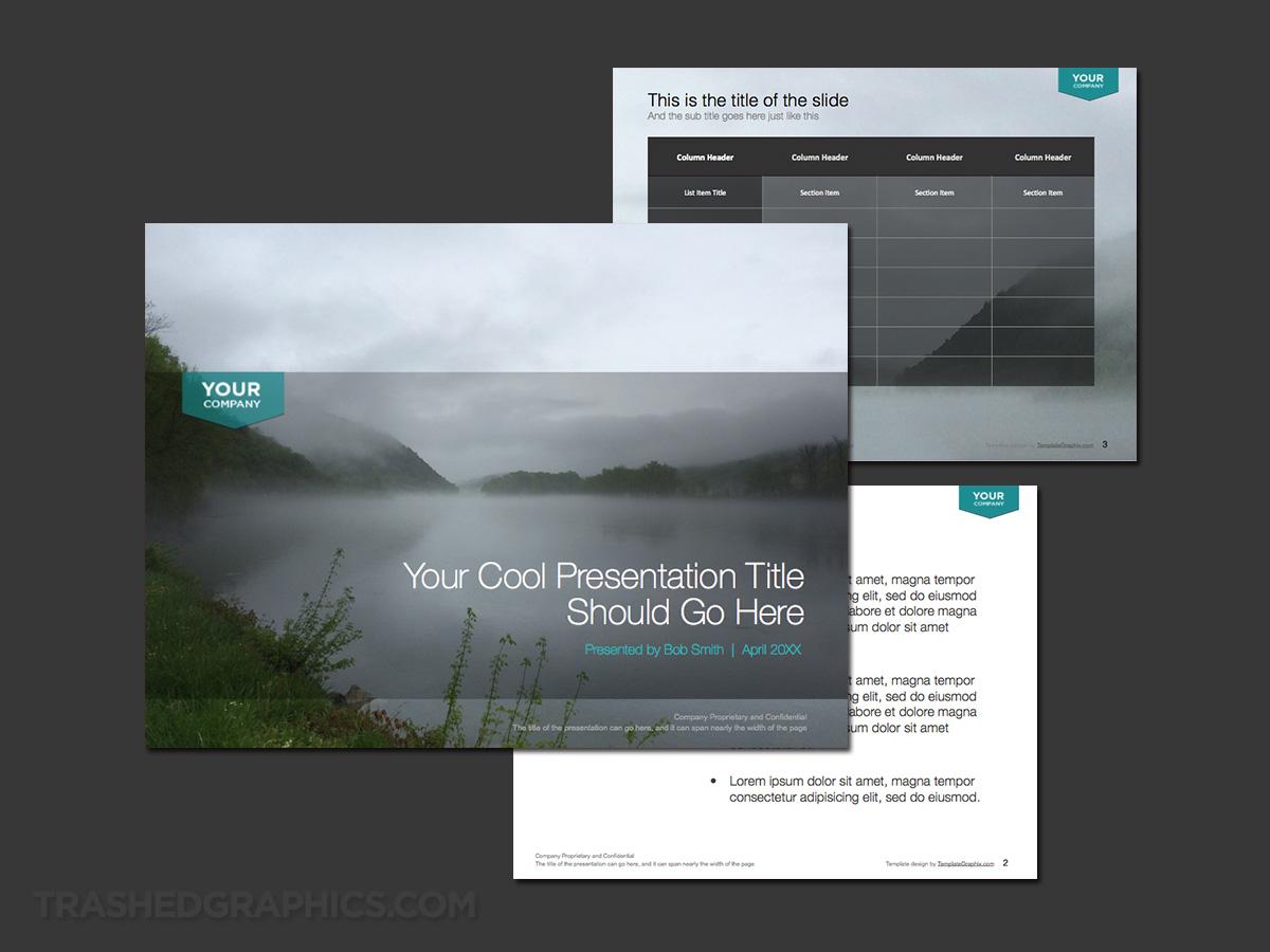 Beautiful fog lake PowerPoint template