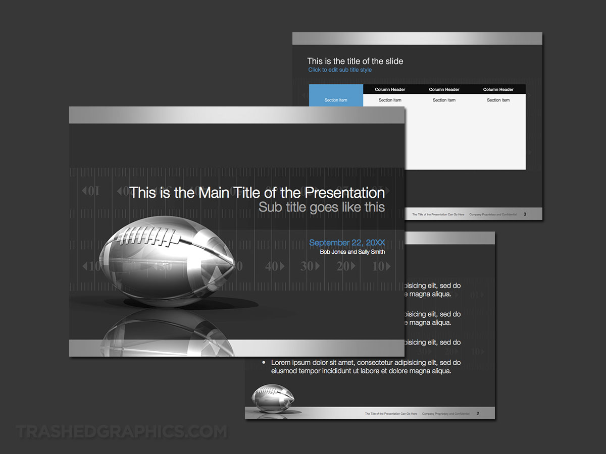 Silver football field PowerPoint template