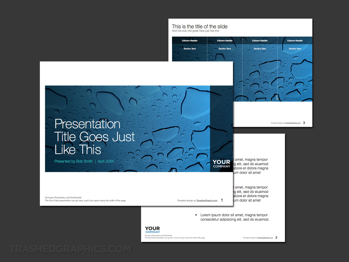 Beautiful water drops PowerPoint template