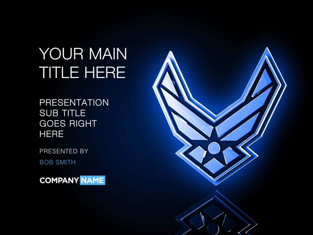 Dark blue Air Force PowerPoint template cover