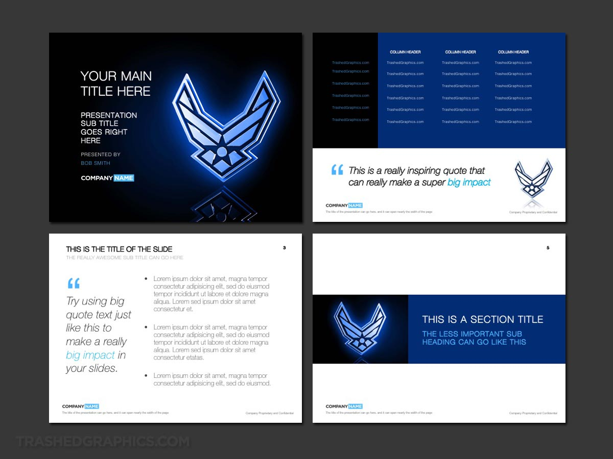 Blue four page Air Force PowerPoint template