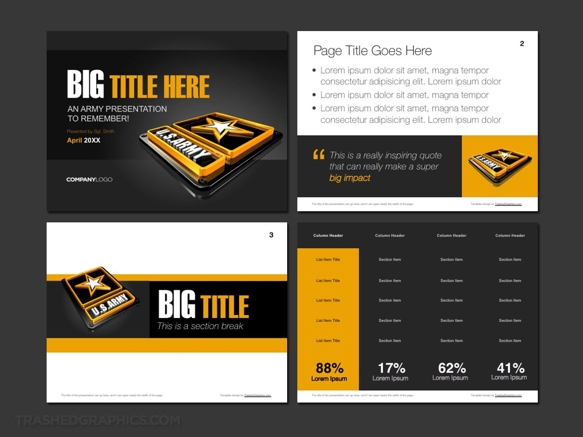 Army PowerPoint template preview